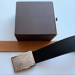Black Louis Vuitton Belt with Silver Buckle